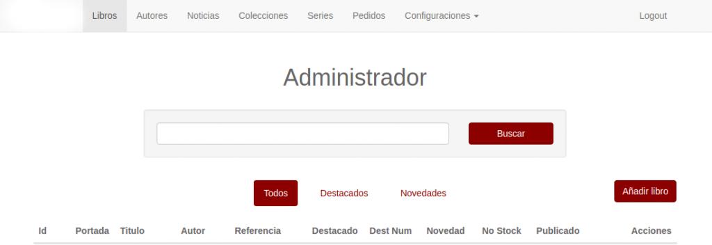 Pàgina principal de l'administrador